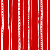 Pieces of China: Stripes white on red