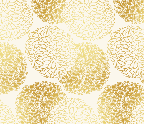 Ming Chrysanthemum in Gold Dust fabric by willowlanetextiles on Spoonflower - custom fabric