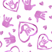 ASL I Love You Signs in Orchid