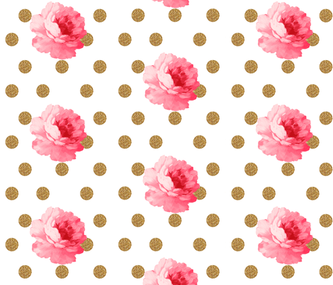 Vintage Pink Flower and Gold Dots fabric by ajoyfulriot on Spoonflower - custom fabric