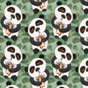 Pandas - Layered on Green