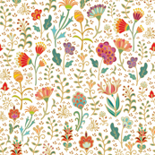 Golden floral field on white background