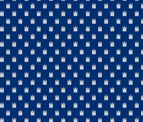 Salt Lake Temple white on blue fabric by bjornonsaturday on Spoonflower - custom fabric