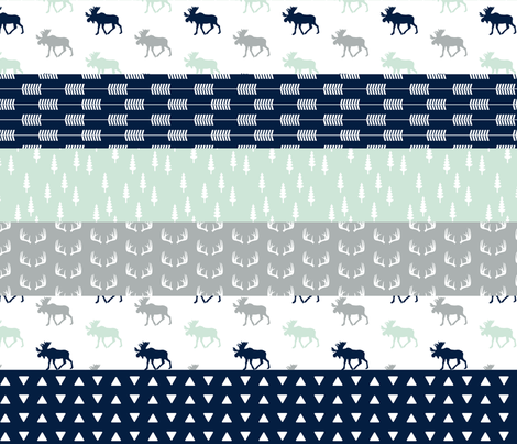 Northern Lights Wholecloth Quilt Top (Moose) fabric by littlearrowdesign on Spoonflower - custom fabric