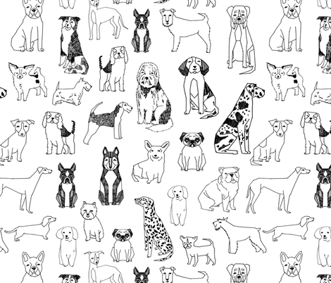 dogs // black and white hand drawn dog illustration cute dogs pet dogs  fabric by andrea_lauren on Spoonflower - custom fabric
