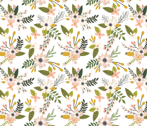 sprigs and blooms // blush fabric by ivieclothco on Spoonflower - custom fabric