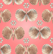 Shell Butterflies in coral pink