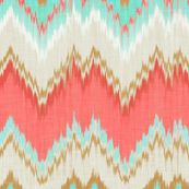 Ikat Chevron in Mint, Gold and Coral Pink