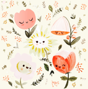 Dreamy Spring - Happy Flowers (Small, Half Size)