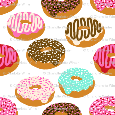 donuts pink chocolate strawberry yummy food print