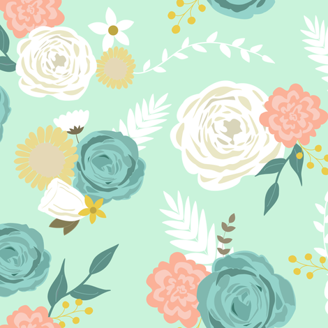 Summer blooms fabric by mintpeony on Spoonflower - custom fabric
