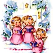 Merry Christmas winter snow angels cherubs caroling choir singing trees houses vintage retro kitsch music