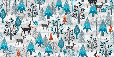 Winter Snow Woodland Animals Small