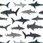 shark // sharks nautical boys white background kids ocean sea tiger shark hammerhead shark fabric