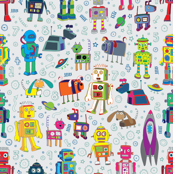 Robots in Space - on grey - medium - small