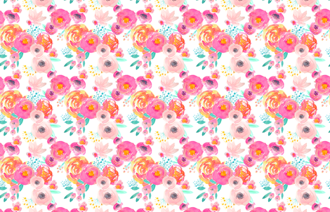 Indy Bloom Blush Florals WHITE B fabric by indybloomdesign on Spoonflower - custom fabric