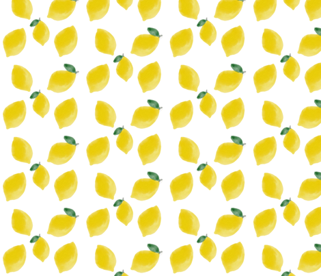 Watercolour lemons, fruit, citrus, yellow fruit, summer, bright || by sunny afternoon fabric by sunny_afternoon on Spoonflower - custom fabric