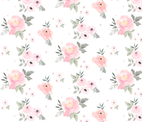 "8"" Sweet Blush Roses fabric by shopcabin on Spoonflower - custom fabric"