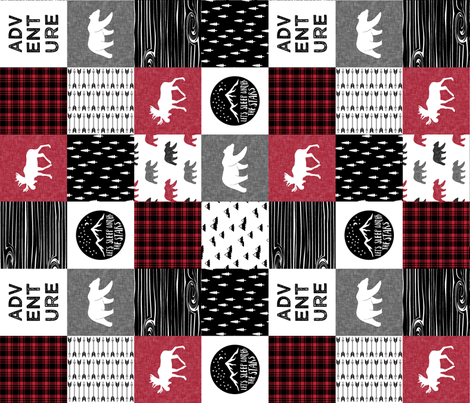 Happy Camper (90) || Wholecloth Quilt Top - Lumberjack collection fabric by littlearrowdesign on Spoonflower - custom fabric