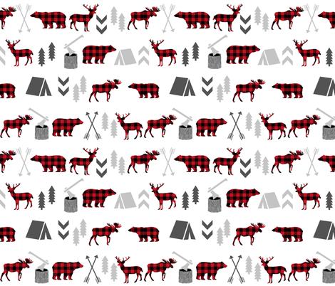 buffalo plaid woodland moose deer bear forest woodland trees camping canada kids fabric by charlottewinter on Spoonflower - custom fabric