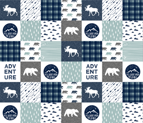 the happy camper wholecloth || navy and dusty blue fabric by littlearrowdesign on Spoonflower - custom fabric