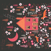 House and Foxes Tea Towel