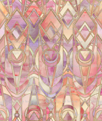 Glowing Coral and Amethyst Art Deco - large