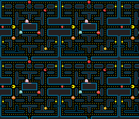 Pacman Retro Video Game Pattern fabric by furbuddy on Spoonflower - custom fabric