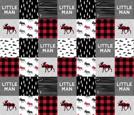 little man patchwork quilt top || moose buffalo plaid fabric by littlearrowdesign on Spoonflower - custom fabric