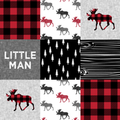 little man patchwork quilt top || moose buffalo plaid