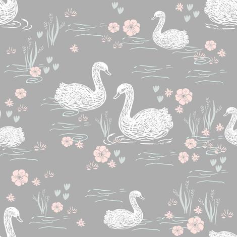 swans girls pastel  grey swan fabric cute girls swan design fabric by charlottewinter on Spoonflower - custom fabric