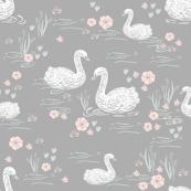 swans girls pastel  grey swan fabric cute girls swan design