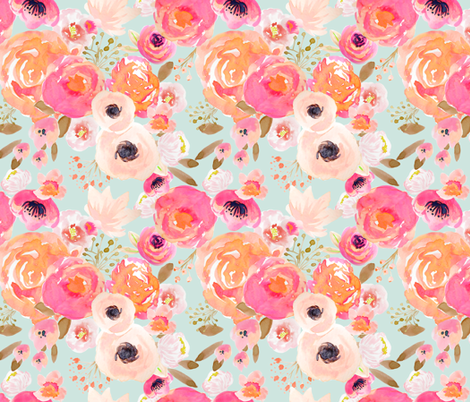 INDY BLOOM BLUSH Florals BLUE B fabric by indybloomdesign on Spoonflower - custom fabric