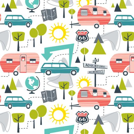 Road Trip - Retro Summer Camping Regular Scale fabric by heatherdutton on Spoonflower - custom fabric