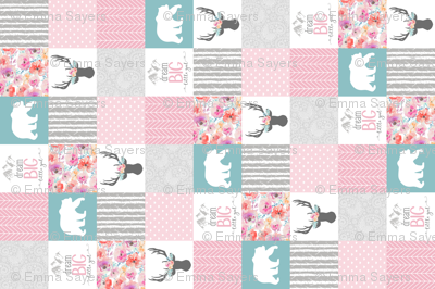 Dream Big Little Girl Wholecloth Cheater Quilt - Rotated