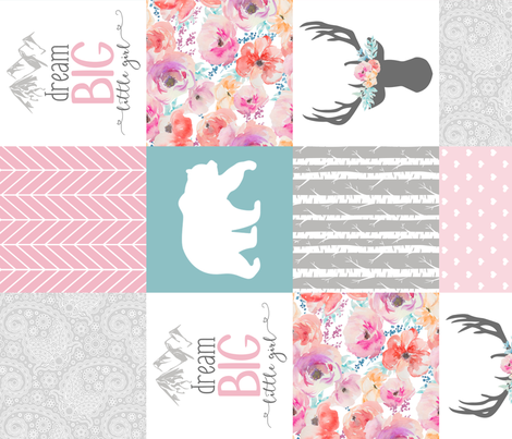 Dream Big Little Girl Wholecloth Cheater Quilt - Rotated fabric by longdogcustomdesigns on Spoonflower - custom fabric