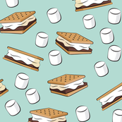 s'mores and marshmallows on dark mint