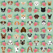 Dogs and Cats heads florals pet lover fabric pattern mint and pink