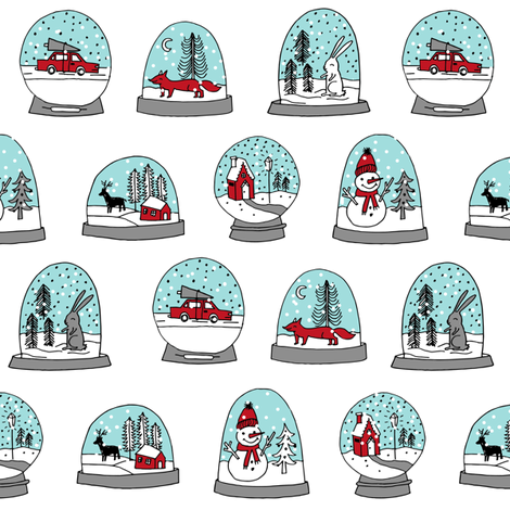 Snow globe winter christmas ornaments fabric pattern white fabric by andrea_lauren on Spoonflower - custom fabric