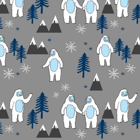 Yeti christmas winter snow fabric grey and blue by andrea lauren fabric by andrea_lauren on Spoonflower - custom fabric