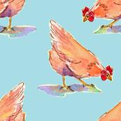 hen-pecked watercolor chickens - aqua