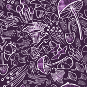 Gnomes and Mushrooms in Purple