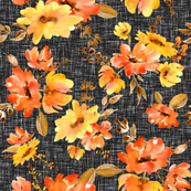Watercolor red and yellow flowers on linen black background