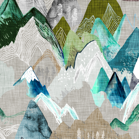 Call of the Mountains (olive) MED fabric by nouveau_bohemian on Spoonflower - custom fabric