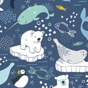 Arctic Animal Icebergs - blue and mustard