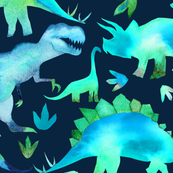 Blue and green dinosaurs - blue background