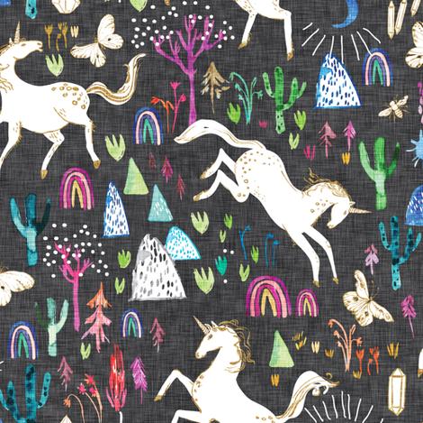 Unicornicopia (midnight) fabric by nouveau_bohemian on Spoonflower - custom fabric