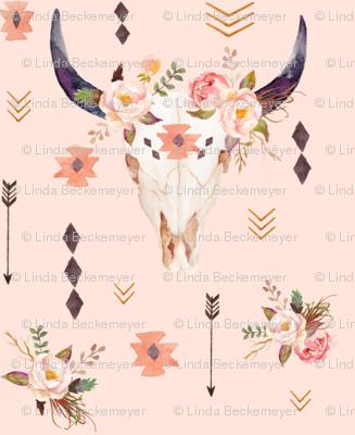 Boho Aztec Bison Skull Flowers (baby pink) – Longhorn Bull Horns Southwest Baby Girl Nursery B