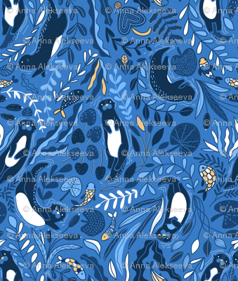 Design of fabric with cute otters. Adorable funny animals and beautiful plants.