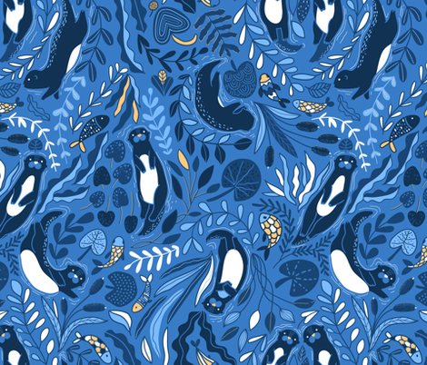 Design of fabric with cute otters. Adorable funny animals and beautiful plants. fabric by kostolom3000 on Spoonflower - custom fabric